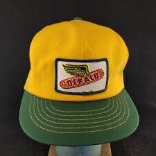 Vintage DEKALB SEED Patch Trucker Farmer Yellow Green Mesh Back Hat -Made USA