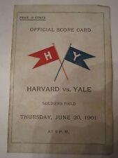 1901 HAVARD VS YALE COLLEGE BASEBALL OFFICIAL SCORE CARD PROGRAM - TUB AMA