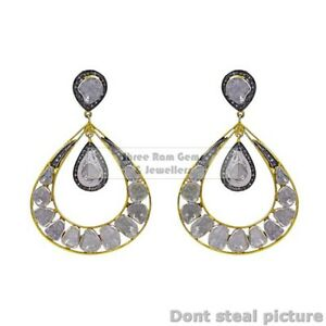 Handmade Design Polki And Pave Diamond 925 Silver Woman Gift Earring X15