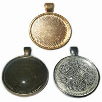 25mm TRAY ROUND SILVER BRONZE COPPER GOLD CABOCHON PENDANT SETTINGS + GLASS C33