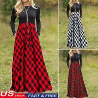 New Women's Plaid Long Sleeve Empire Waist Full Length Maxi Dress with Pockets