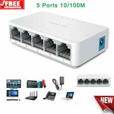 5 Port 10/100Mbps Desktop Ethernet Network Lan Power Adapter Switch Hub Splitter