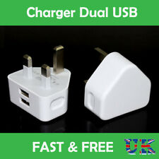 CE APPROVED FAST DUAL 2 PORT USB CHARGER 3 PIN MAINS WALL PLUG ADAPTER