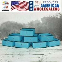 8pcs Blue Closet Drawer Organizer Foldable Fabric Cloth Storage Cubes Basket