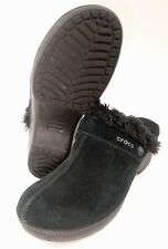 Crocs Suede Clogs Mules Faux Fur Shoes Slip On Size Womens 8 11602 Black