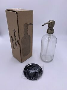 Industrial Rewind Clear Glass Soap Dispenser with Brass Metal Pump and Non Sl...