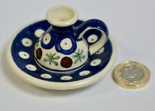 Miniature Hand Painted Polish Pottery Candlestick, Wiza