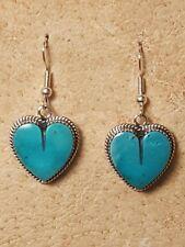 Earrings (E112T) Navajo: Blue Kingman Turquoise Dangle