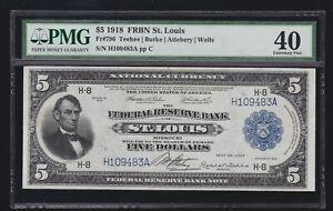 US 1918 $5 FRBN St. Louis FR 796 PMG 40 XF (483)