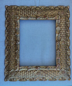 11.6@ 9.5  In Painting Frame Gilded Antique Wooden Carved Painting Rustic
