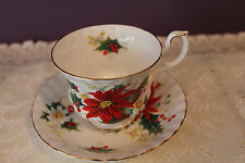 ROYAL ALBERT TEACUP AND SAUCER - POINSETTIA - CHRISTMAS HOLLY