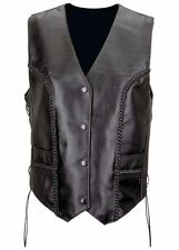 LADIES WOMENS BIKER MOTORCYCLE BRAIDED SOFT PREMIUM LEATHER VEST w / LACE