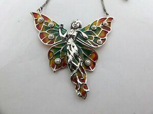 Art Nouveau insp Butterfly maiden Sterling silver Enamel Pendant Plique a Jour