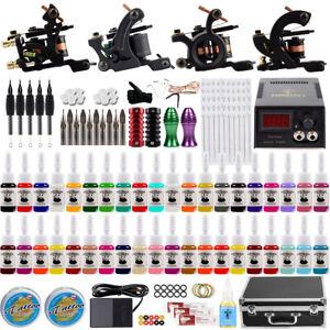 Tattoo Kit 4 Rotary Tattoo Machine Guns 40 Ink Power Supply Complete Tattoo Kits