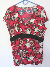 SUSAN LAWRENCE top shirt blouse XL 14 16 Bust 46 V-neck 'liquid fabric'  Red
