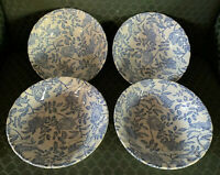 """NEW Churchill England Earthenware Set of 4 Blue & White Floral 6"""" Bowls"""