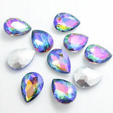 Hot Color AB10pcs Crystal Glass rhinestones Silver Teardrop beads 13x18mm