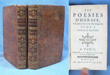 Poésies d'HORACE / Desaint & Saillant - 2 tomes 1760 /  Bilingue Latin-Français