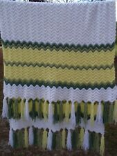Vintage Hand Crafted Knit Afghan Granny Blanket Throw Green White Yellow Zig Zag
