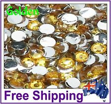 Rhinestones Resin FB 4mm ~ Golden ~ 500 Pack By Gypsy Bling ~ Free Post