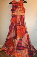 VTG MALAMA Sophisticates Hawaii retro mod psychedelic 60s dress orange red sz 7