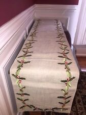Pottery Barn Christmas Holiday TABLE RUNNER EMBROIDERED Holly Leaves New