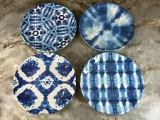 Blue Abstract Appetizer Plates By 222 Fifth. Set Of 4. Melamine. New.