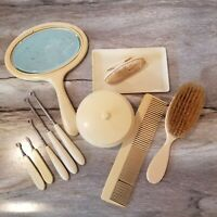 11 pc Vintage Ivory Pyralin Celluloid Art Deco Vanity Dresser Set Mirror Brush