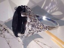 *+*SALE*+*  SUPERB 10CT BLUE SAPPHIRE STERLING SILVER 925 Art DECO Style RING