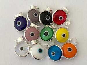925 Sterling Silver Evil Eye Greek Mati Turkish Nazar Pendant Charm Double Side