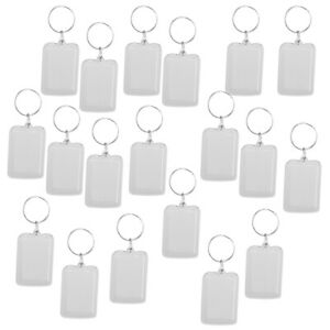 20pcs/pack Clear Blank Keyrings Rectangle Photo Holder Keychain, 38x25mm