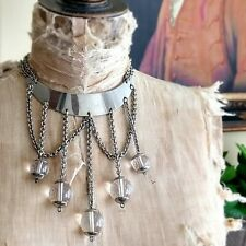 Vtg 70s Medieval Revival Lucite Acrylic Metal Collar Necklace Mod Bondage Gothic
