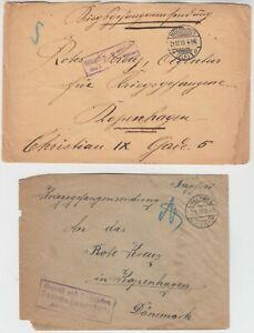 1915/16 2x PRISONER of WAR cover to RED CROSS COPENHAGEN with MULHAUSEN MILLEWEN