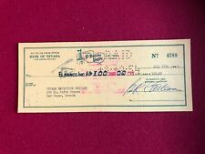 1954, El Rancho Vegas (Las Vegas) Cancelled Check (Scarce / Vintage)