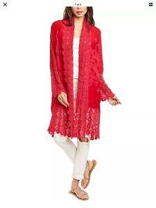 Johnny Was Red  Asao Eyelet Kimono Jacket 2X $390 Embroidered Crochet Lace NWT