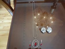 VINTAGE STERLING SILVER IBB-925-2 SET OF EARRINGS AND NECKLACE AND PENDANT-VERY