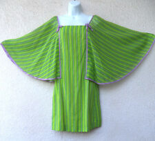 Vintage 1960s MOD MINI DRESS Kimono Angel Sleeve GoGo Striped Twiggy Hippie S XS