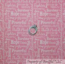 BonEful Fabric Cotton Quilt Pink White Word Breast Cancer Ribbon Lady RARE SCRAP