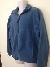 Columbia Mens M Medium Dusty Blue Unlined Zip Front Fleece Jacket EUC