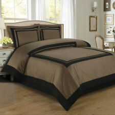 Luxury Cal King 100% Cotton Single ply Duvet Cover set soft Taupe and Black