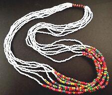 1 Multi Strand White & Rainbow Wood Beaded Fashion Necklace - # B58