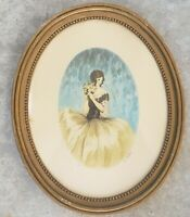 Rare 1900's Hand Signed A. Ferat 2/400 Woman Art Deco Oval lithograph France