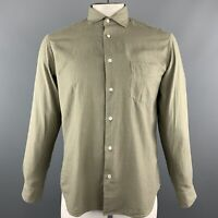 HARTFORD Size M Olive Solid Cotton Button Up Long Sleeve Shirt