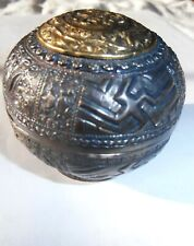 Antique Silver betel nut spherical box repousse great detail
