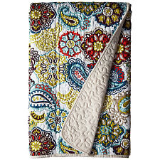 Oversized Paisley Floral Quilted Throw Blanket Bed Cover Poly 60x70in Multicolor