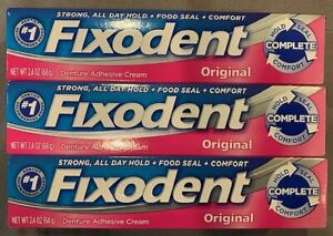 Fixodent Complete Original Denture Adhesive Cream, 3 Pack, 2.4 Oz