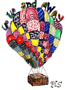 ACEO Hot Air Balloon Zen Doodle Tangle Design Art zentangle Penny StewArt