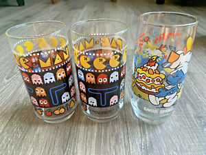Vintage Pac Man Video Game +Smurfs Drinking Glasses Lot of 3 Bally Midway 1980s