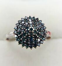 9CT WHITE GOLD TOURMALINE CLUSTER RING SIZE P