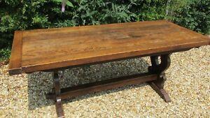 Antique refectory table solid oak London maker
